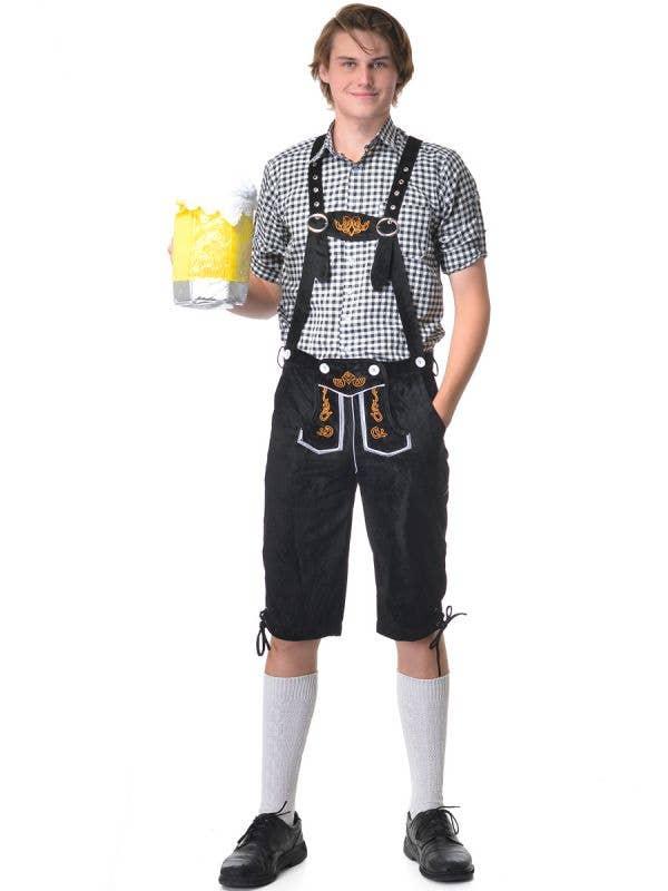 Men's Deluxe Black and White Oktoberfest Fancy Dress Costume - Main Image