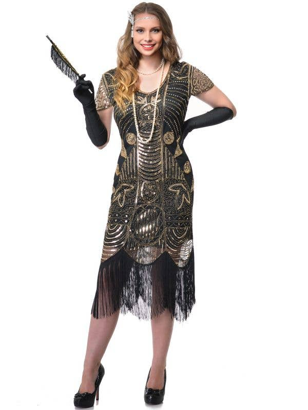Women's Roaring 20's Deluxe Black and Gold Women's Gatsby Dress Costume - Front Image