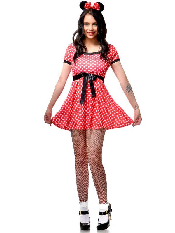 Women's Red and White Polka Dot Minnie Mouse Fancy Dress Costume Main Image