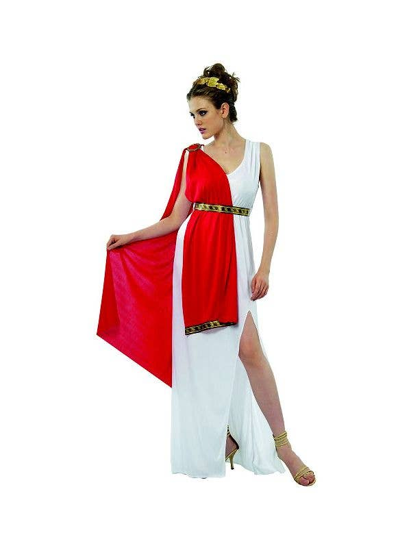 Womens Red and White Long Greek Goddess Toga Costume