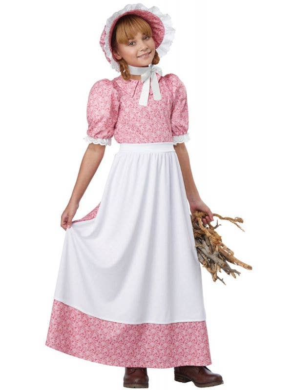 California Costumes Early American Settler Girls Pink Colonial Fancy Dress Costume
