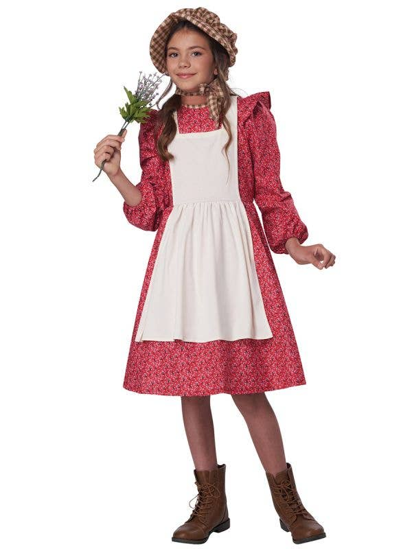 Floral Pink Frontier Settler Girl's Colonial Costume - Front Image