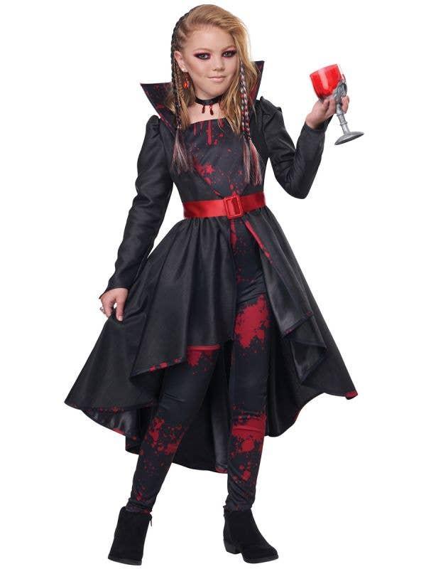 Black and Red Blood Splattered Girl's Vampire Costume - Main Image