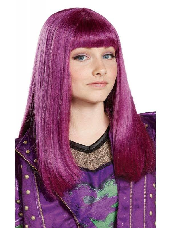 Girl's Purple Straight Mal Descendants Disney Costume Wig For Kids Main Image
