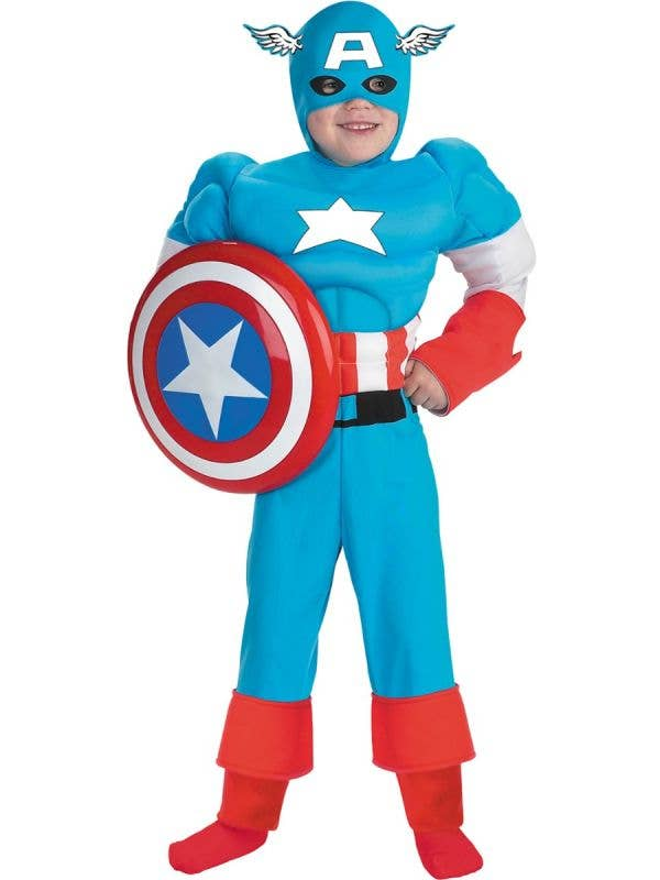 Boys Deluxe Captain America Muscle Chest Costume - Main Image