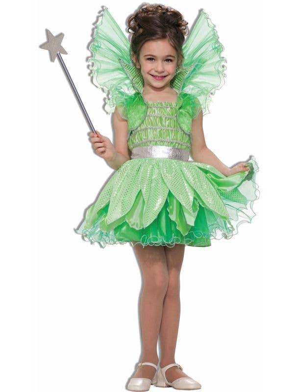 Green Sprite Fairy Girls Tinkerbell Book Week Costume Front View