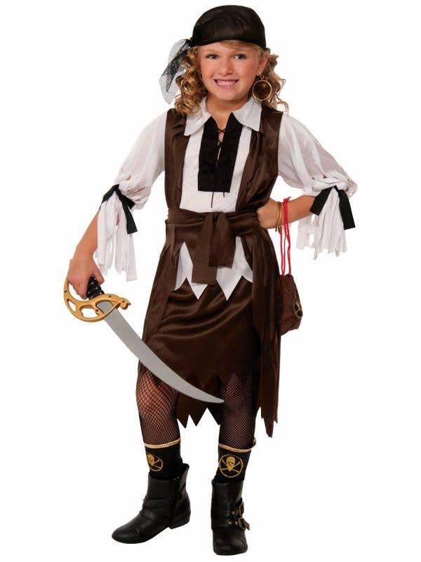 Treasure Hunter Brown and White Girls Pirate Costume Main Image