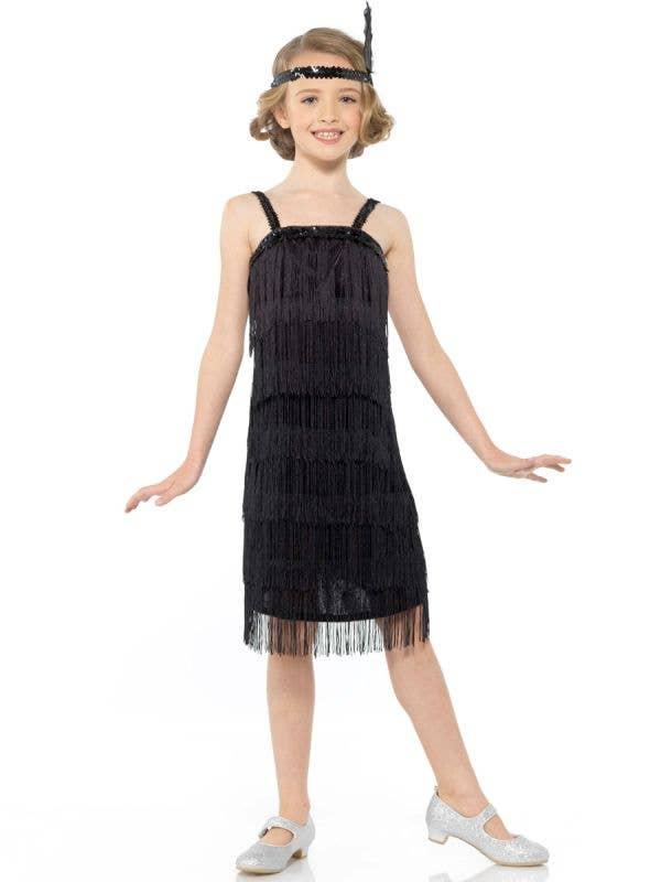 Girls 1920s Black Flapper Great Gatsby Costume Dress - Main Image