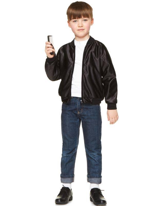 50's Black Faux Leather Thunder Birds Grease Style Costume Jacket for Boys - Main Image