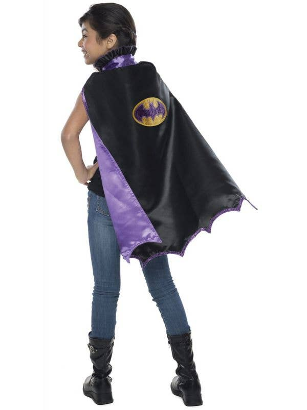 Girls Black and Purple Batgirl Officially Licensed Superhero Costume Cape Accessory Main Image