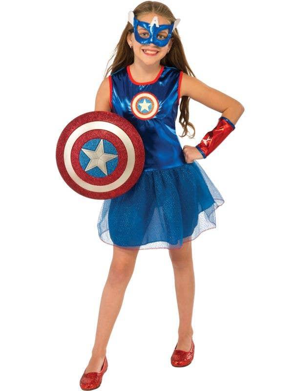 Superhero Girl's Captain America Fancy Dress - Front View