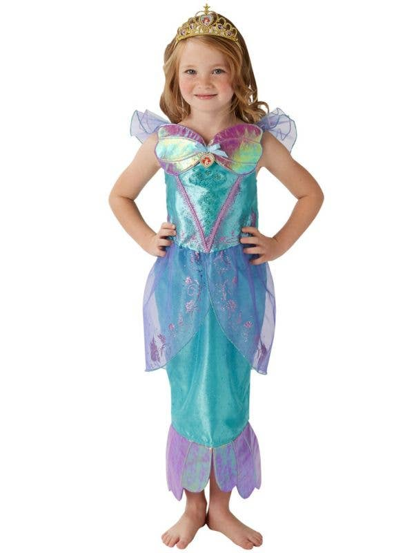 Girl's Deluxe Disney Princess Little Mermaid Ariel Glitter Fancy Dress Costume Main Image