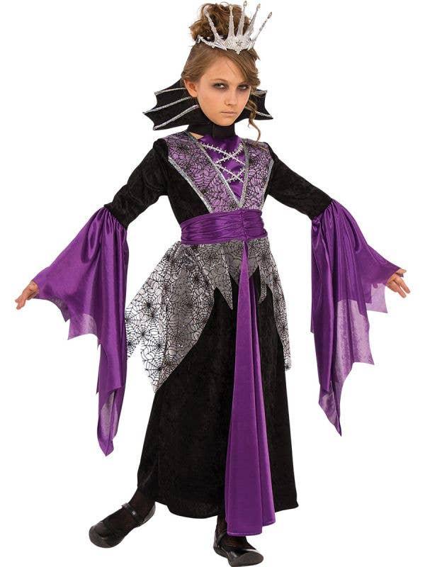 Purple and Black Girls Vampire Costume - Main Image