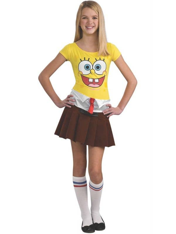 Teen Girls Spongecutie Spongebob Squarepants Fancy Dress Costume Front Image