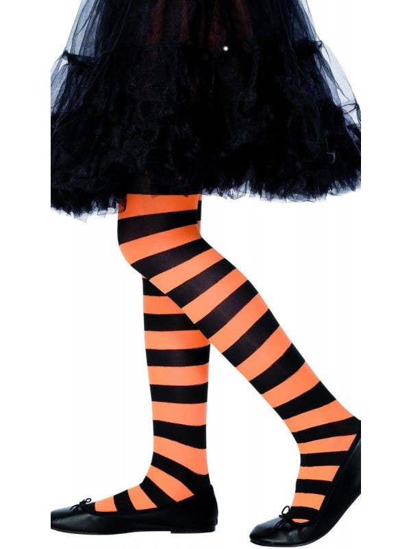 Girls Full Length Orange and Black Striped Halloween Stockings Main Image