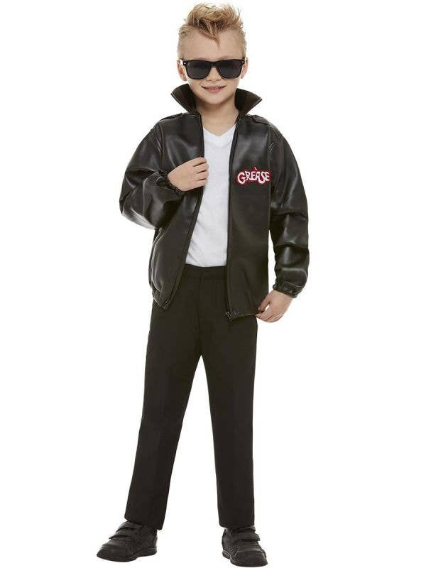 Boy's Grease T-Birds Black Leather Costume Jacket Front View