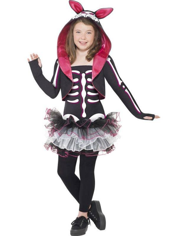 Girl's Skeleton Rabbit Animal Halloween Tutu Costume Front
