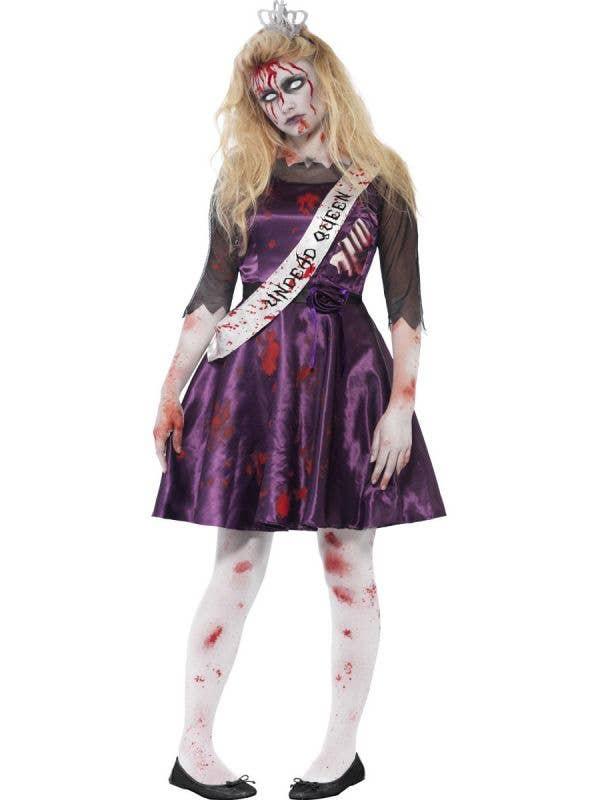 Teen Girl's Prom Queen Zombie Fancy Dress Front View