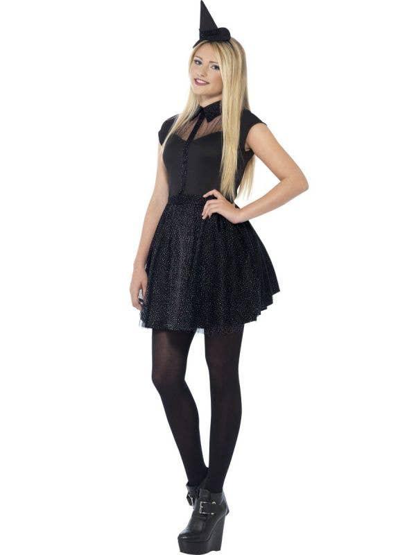 Teen Witch Girl's Black Halloween Fancy Dress Costume Front