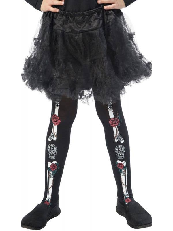 Girls Black Day of the Dead Costume Tights