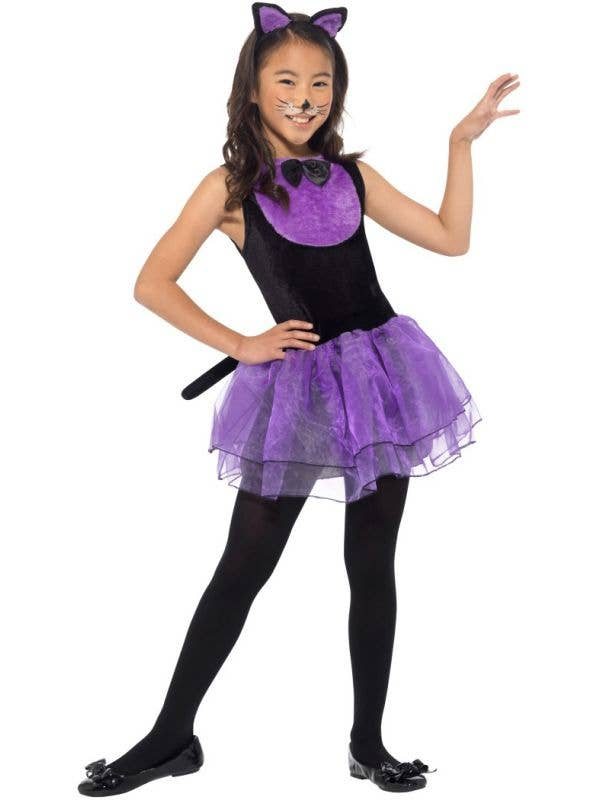 Girls Cute Purple and Black Halloween Cat Costume Front Image