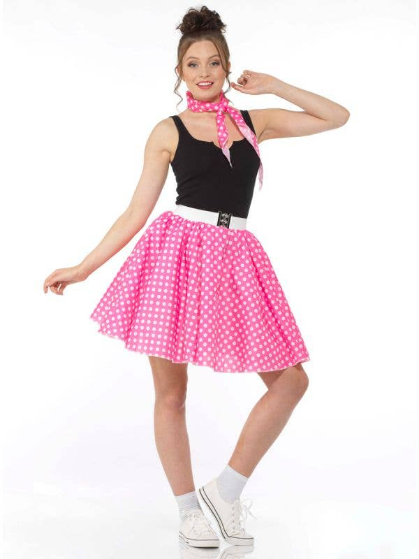 Pink and White Polka Dot Womens 50s Skirt Costume - Main Image