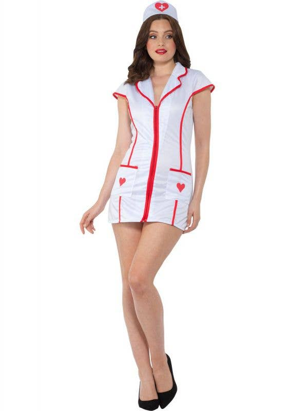 Short White and Red Sexy Nurse Uniform Costume for Women - Front Image