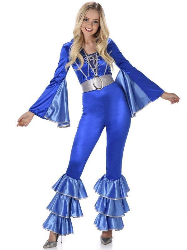 Flared Metallic Blue 1970's Eurovision ABBA Style Women's Costume Jumpsuit