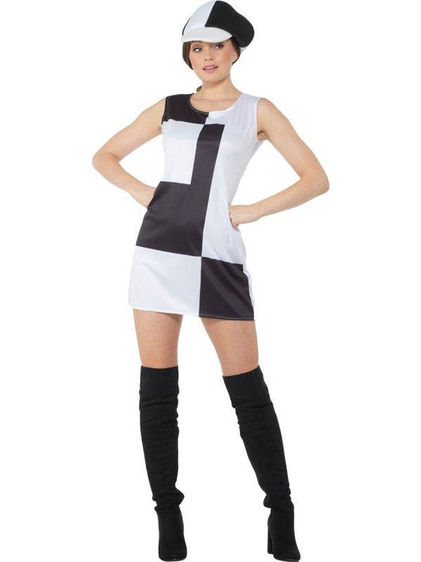 Black and White 1960's Monochrome Mod Costume for Women - Front Image
