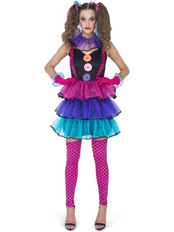 Bright and Colourful Women's Carnival Clown Circus Costume - Main Image