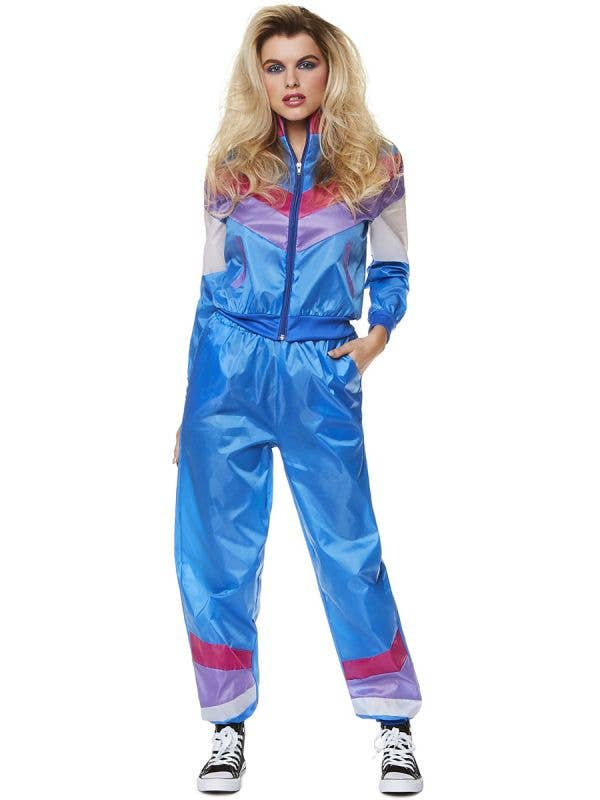 1980's Blue Shell Suit Fancy Dress Costume for Women - Front Image