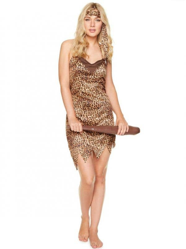 Sexy Leopard Print Prehisotric Cavewoman Costume for Women - Main Image
