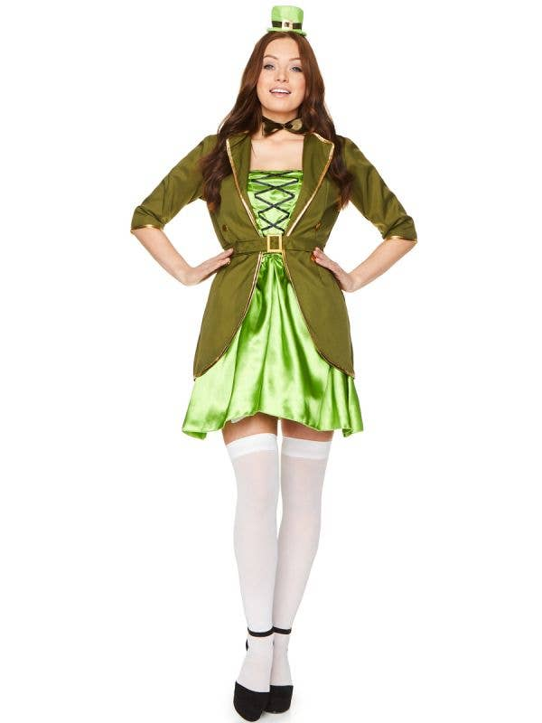 Lucky Charm Women's Sexy Green Leprechaun Costume - Main Image