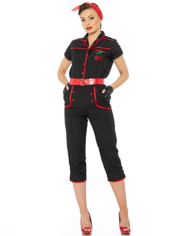 Black and Red 1950's Rockabilly Women's Costume - Main Image