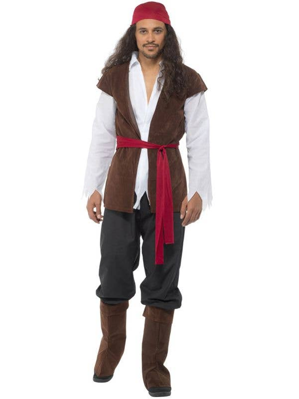 Brown, Red and White Pirate Captain Men's Costume - Main Image