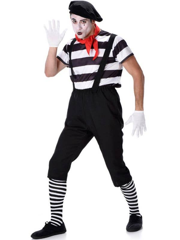 Classic Black and White French Mime Men's Costume - Main Image