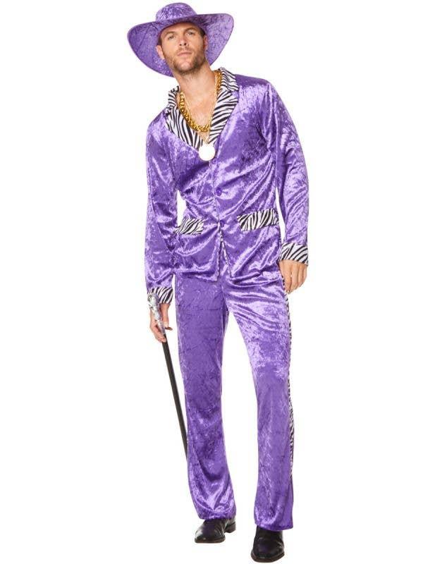 Crushed Purple Velvet 80's Mac Daddy Men's Costume with Zebra Print Trim - Main Image