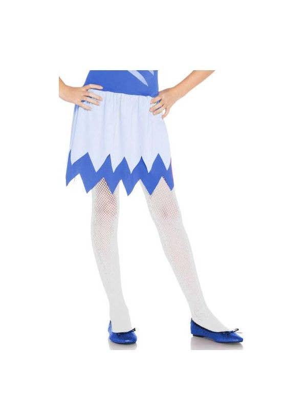 Girls White Fishnet Full Length Costume Stockings - Main Image