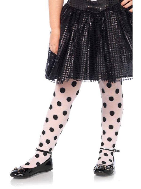 Girls Black And white Polka Dot Stockings