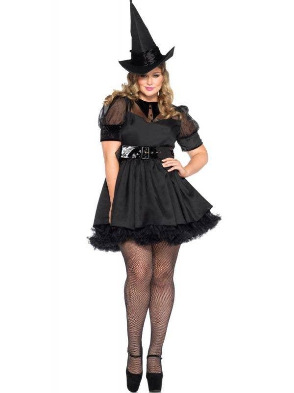 Black Witch Plus Size Sexy Halloween Costume Main View