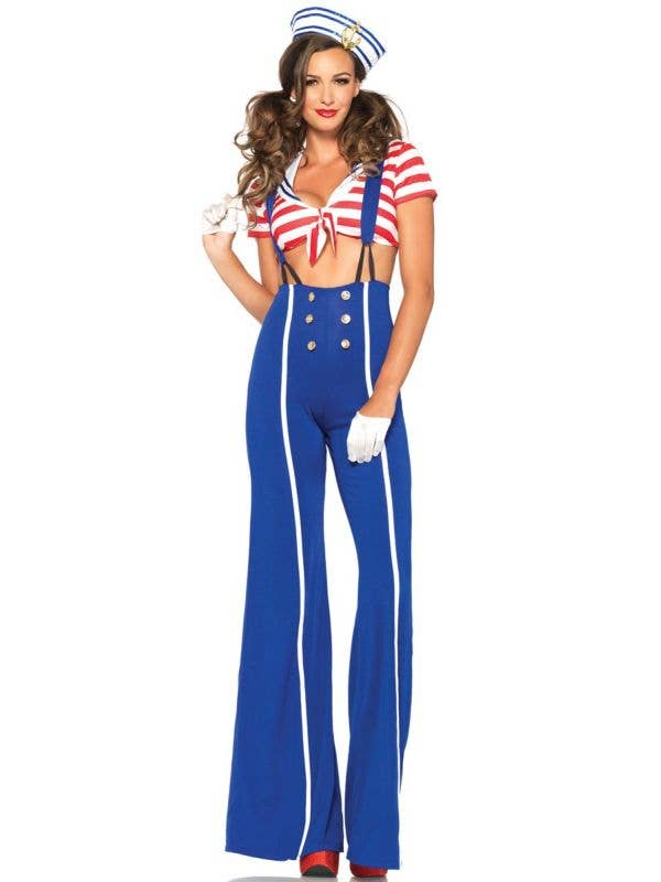 Blue Red and White Ship Shape Women's Sailor Costume - Front Image