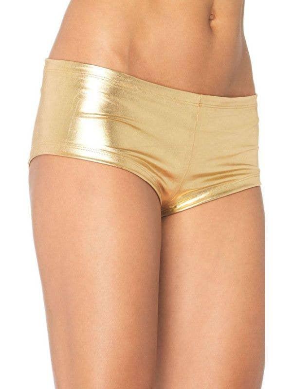 Women's Gold Shiny Booty Shorts Main Image