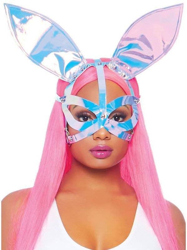 Women's Pink Hologprahic Strappy Bunny Ears Costume Mask Main Image