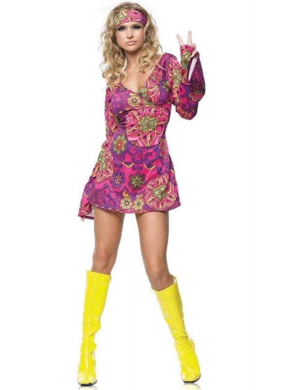 Pink 1960s Retro Fancy Dress Hippie Costume for Women - Main Image