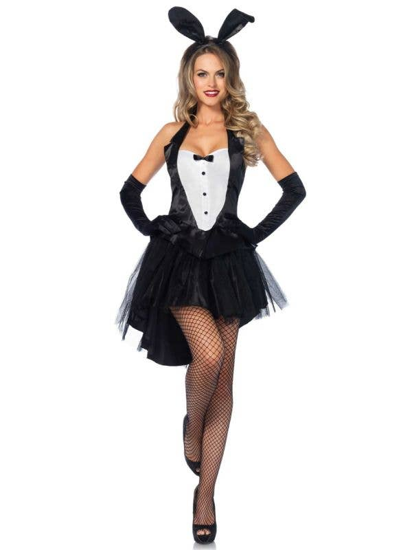 Black and White Playboy Bunny Costume Dress - Women's Playboy Costume