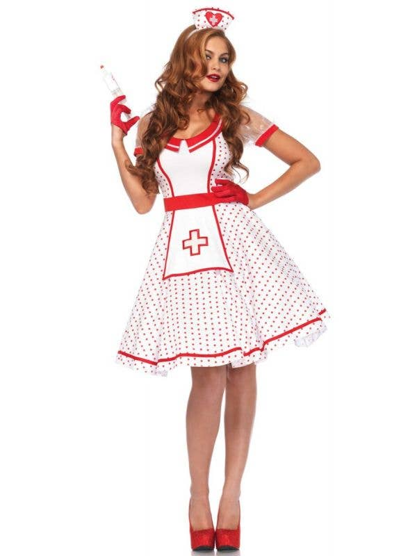 Red Polka Dot Retro Nurse Costume for Women Front Image