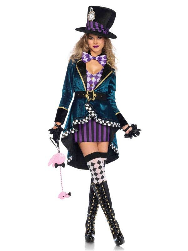 Mad Hatter Alice in Wonderland Costume For Women Front View