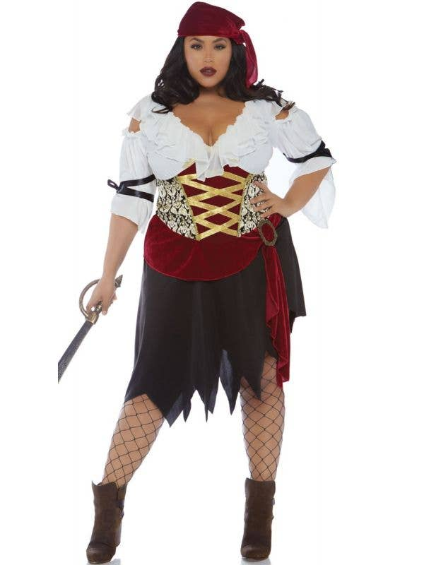 Women's Black Red And White Deluxe High Seas Wench Pirate Fancy Dress Costume Main Image