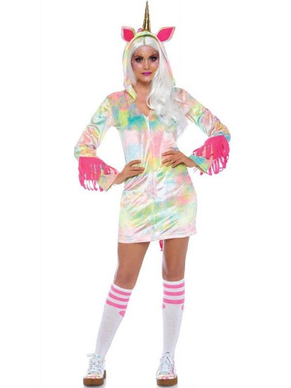 Women's Cozy Rainbow Enchanted Unicorn Fancy Dress Costume Front Image