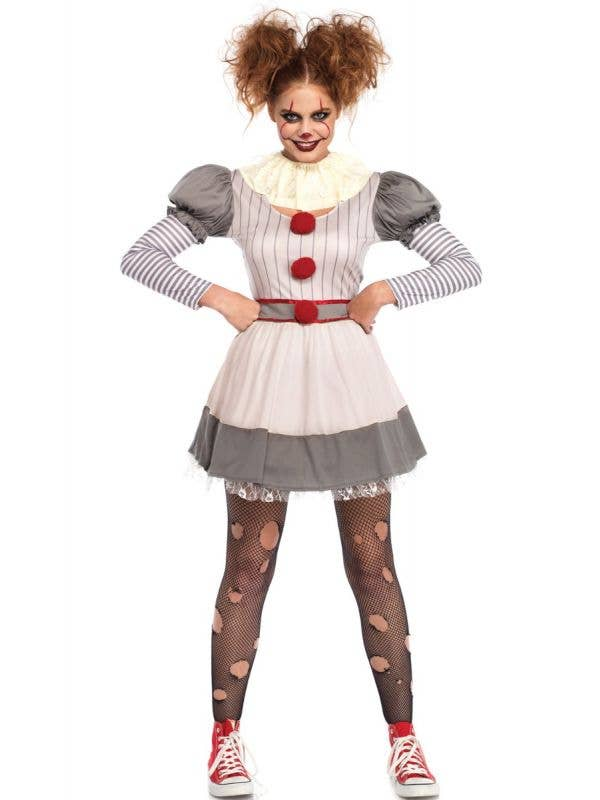 Women's Creepy Clown Pennywise Halloween Costume Front View